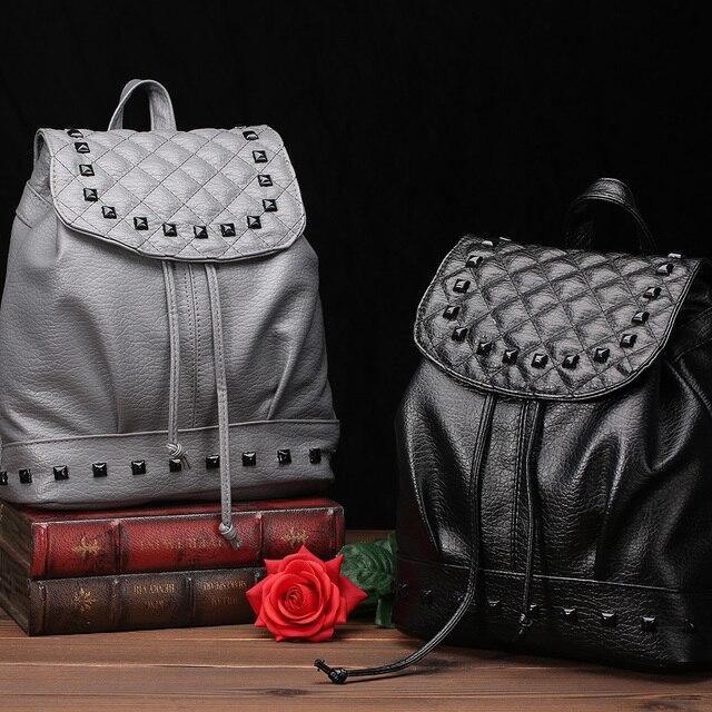 a6ffe38664 WILIAMGANU Leather Women Backpack fashionable shoulder school bags for teenage  girls Female Travel Back Pack Plaid rivets Bag
