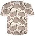 Pusheen Gato Engraçado T-Shirt Dos Homens Das Mulheres Unisex Dos Desenhos Animados T-shirt Verão Estilo Moda Vestuário Tops Camisa t Tamanho da camisa Mais