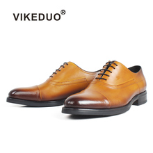 VIKEDUO Genuine Cow Skin Oxford Shoes Mens Flat Patina Handmade Leather Plus Size Wedding Office Party Formal Dress