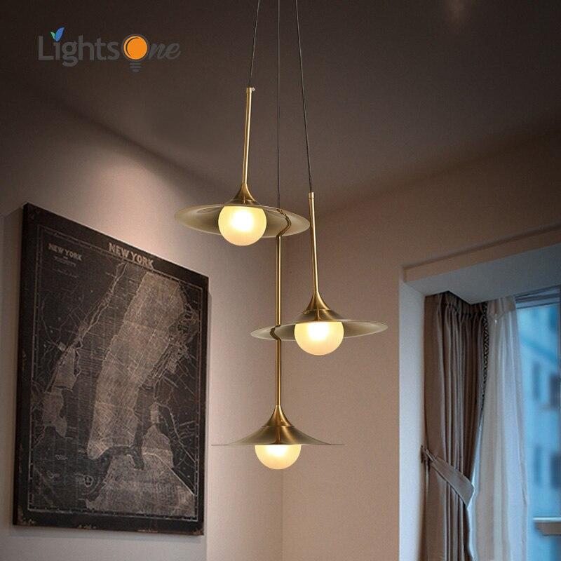 Nordic style creative three pendant lights modern minimalist living room dining room iron glass cover led