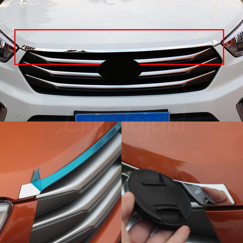 Dla hyundai ix25 creta akcesoria kratka przednia wyścigi osłona na maskownicę wykończenie dekoracja zewnętrzna chrom stylizacja 2016-2019