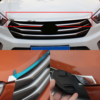 For hyundai ix25 creta accessories grille front Racing Grille Cover trim Exterior decoration Chromium Styling 2016-2019 цена 2017