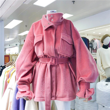 2019 autumn and winter new solid color imitation hippocampus fur loose thick coat female collar waist collar stand collar coat