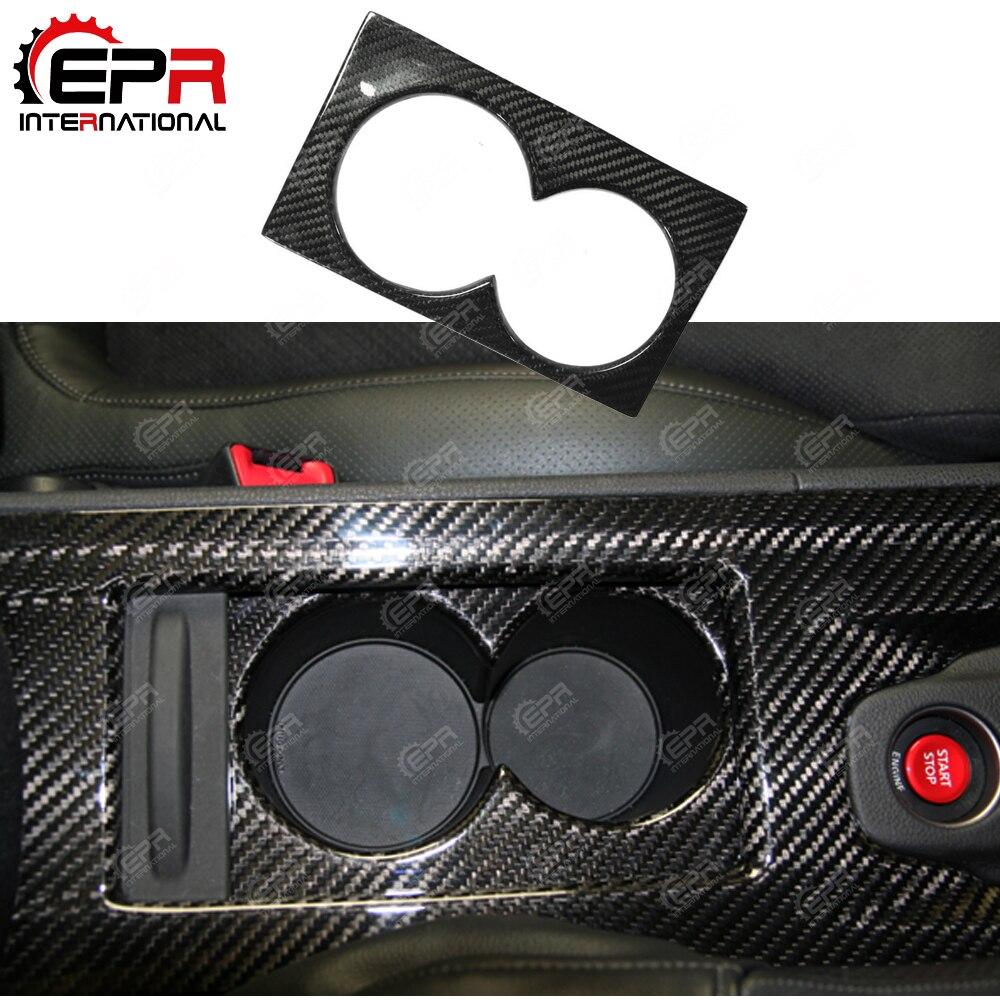 車のスタイリング日産 R35 GTR LHD 炭素繊維カップホルダーカバー光沢仕上げ GT-R インナードリフトレーストリムインテリアアクセサリー