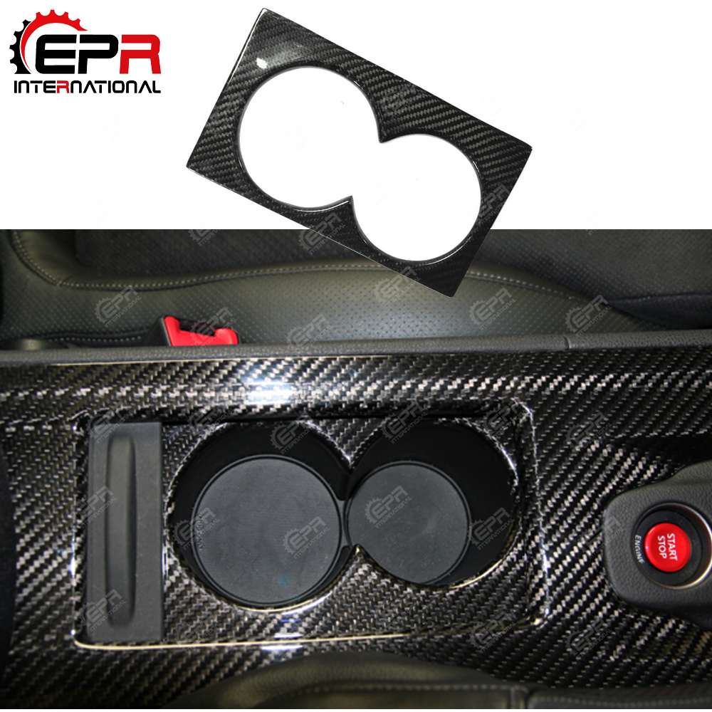 Car-styling For Nissan R35 GTR LHD Carbon Fiber Cup Holder Cover Glossy Finish GT-R Inner Drift Racing Trim Interior Accessories
