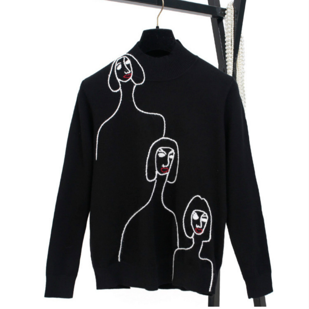 Fashion Women Turtleneck Sweaters 2018 Autumn Female Embroidery Cartoon Pullover High Street Jumper Loose Runway Basic