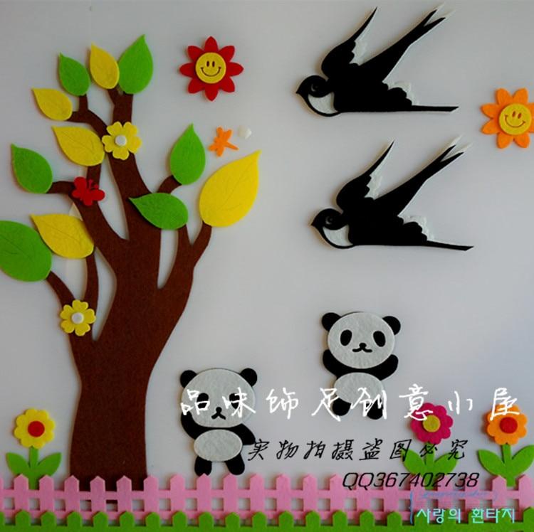 Diy Classroom Wall Decor ~ Kindergarten wall stickers blackboard newspaper diy
