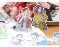 14 шт./упак. искусств модная одежда для девочек цветы бумага наклейки набор декоративные канцелярские наклейки для DIY скрапбукинг дневник альбом ярлыком