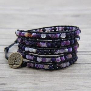 Фиолетовый бисер кожа Обёрточная Бумага браслет матовый бисерные ювелирные изделия в стиле
