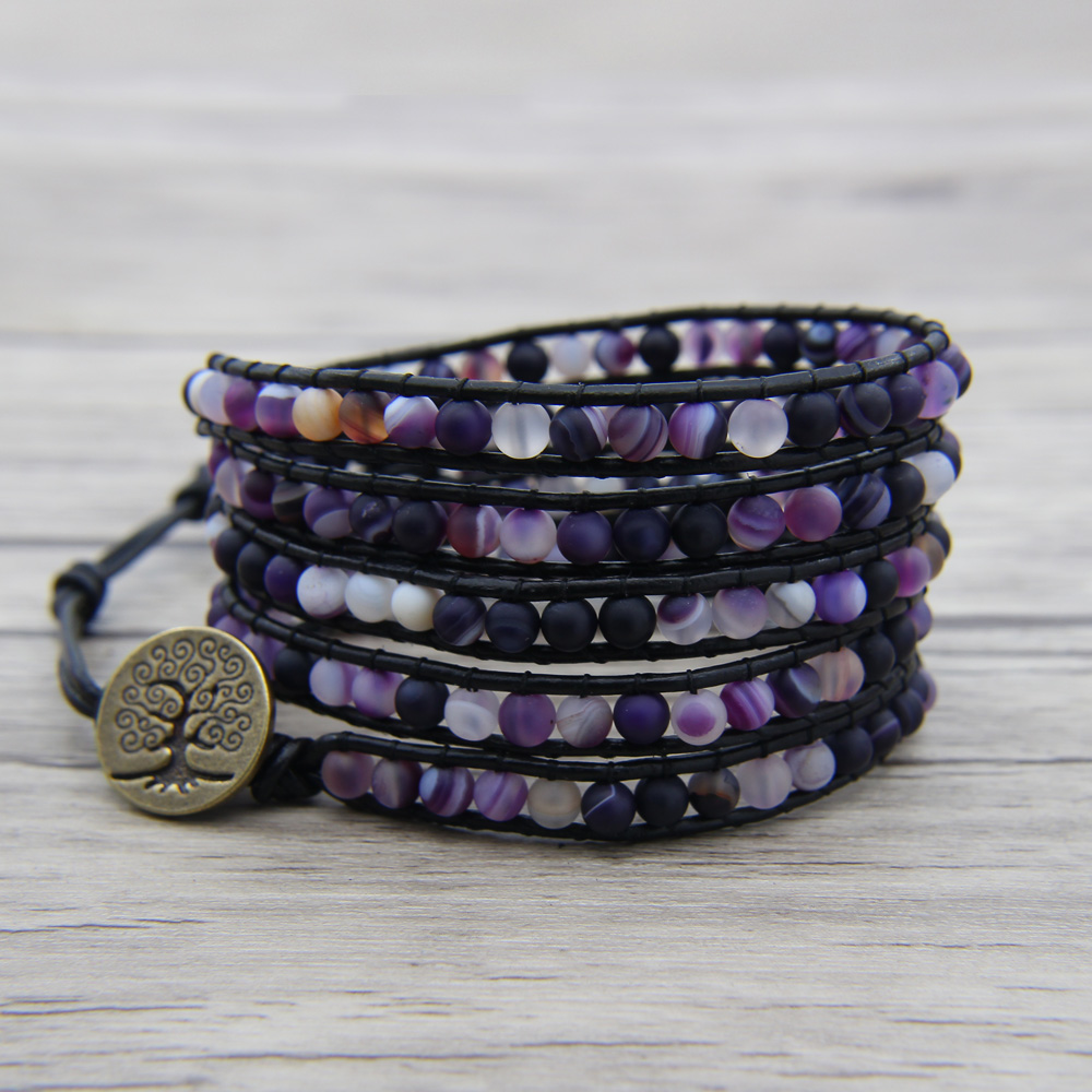 Purple beads leather Wrap bracelet Matt Beaded Boho Jewelry Beaded Wrap Bracelet Birthday Gift Purple Matt Bead Jewelry