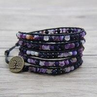Purple beads leather Wrap bracelet Matt Beaded Boho Jewelry Beaded Wrap Bracelet Birthday Gift Purple Matt Bead Jewelry