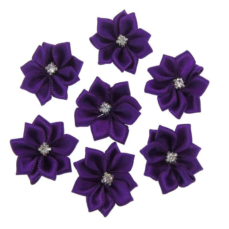 40Pcs Purple Small Satin Flowers Fabric Rhinestone Flowers Appliques Sewing Decoration  Wedding Garment 2.8cm 20865f8bd934