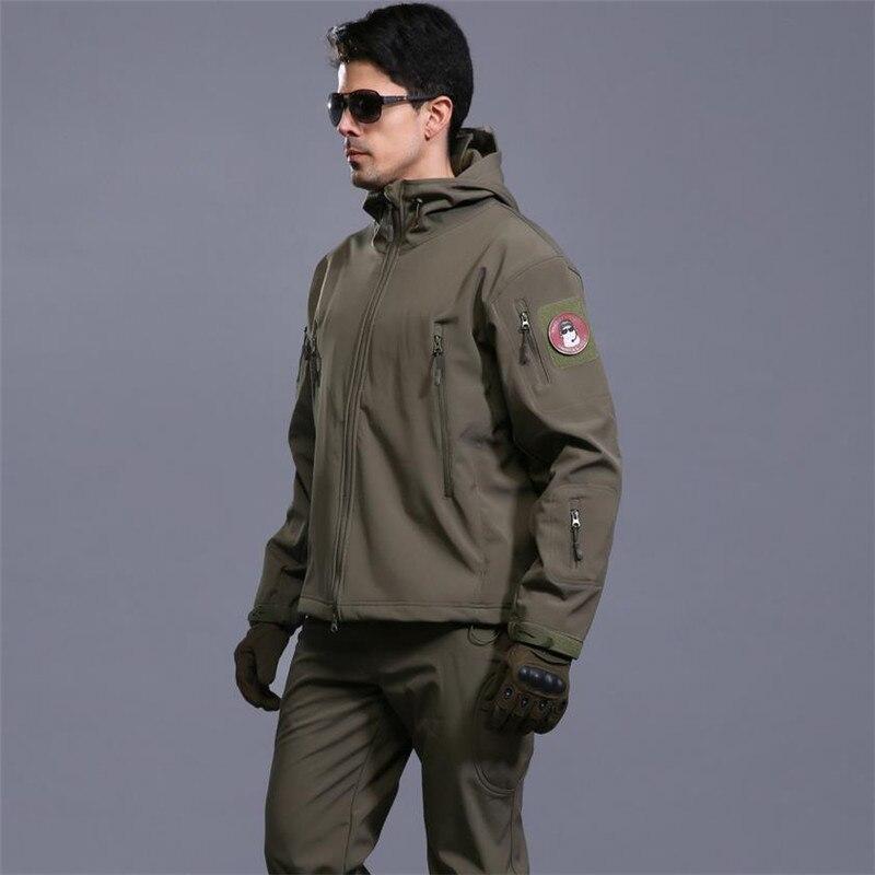 Extérieur hommes s peau Softshell V4 tactique militaire imperméable coupe-vent chaud manteau Camouflage à capuche Camo armée vêtements veste