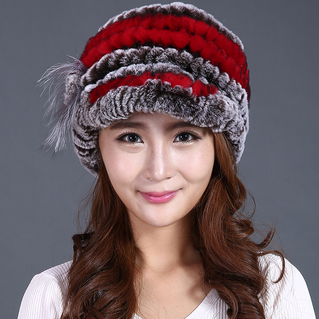 winter rex fur hat women flower cap knitted high quality casual beanies 2016 new real rabbit fur hat genuine fur hat caps female