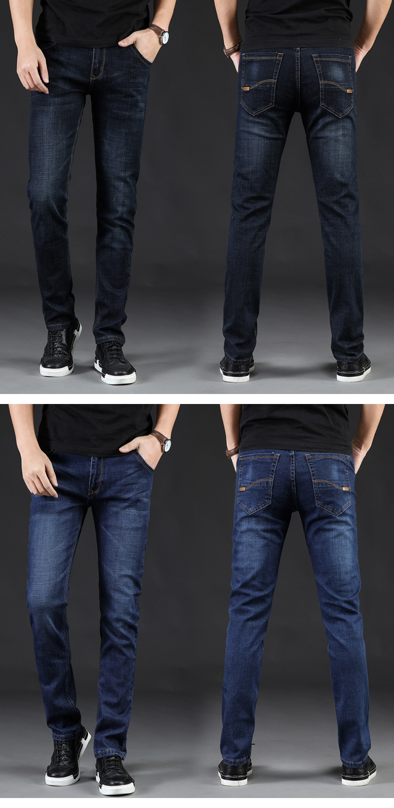 KSTUN Men Jeans Business Casual Straight Slim Fit Blue Black 2019 Denim Pants Trousers Classic
