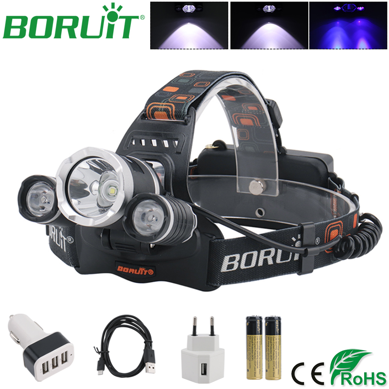 BORUiT 395nm UV LED Headlamp Ultraviolet Purple Flashlight USB Rechargeable Headlights Camping Hunting Head Torch 18650 Battery