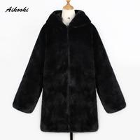 Aikooki Winter Warm hooded Medium length Hairy Artificial Fur Coat Faux Fur Women New Casual Long sleeve Lady Fur Outwear coats