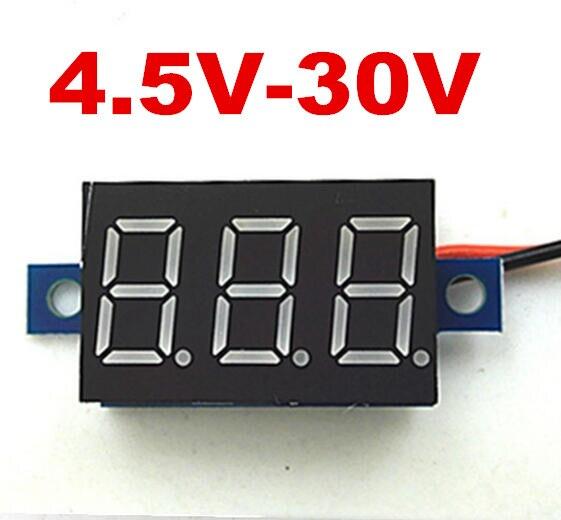 Красный Мини-Цифровой СВЕТОДИОДНЫЙ дисплей 4.5 В-30 В Вольтметр индикатор напряжения Panel Meter Для электромобиль Мотоцикл