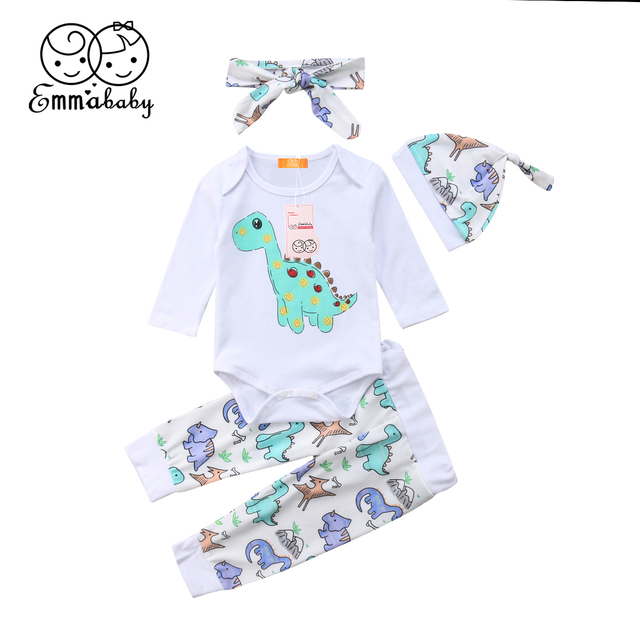 423f7a9287f the new fashion lovely wild Dinosaur Newborn Baby Boy Girl Tops Romper  Pants 4Pcs Outfits Clothes stylish cute novel trend
