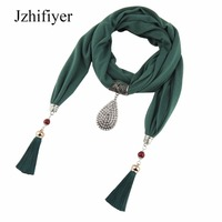 Jzhifiyer Dropping Pendant Jewelry Scarf Diamond Necklace Cotton Women Tassel Bead Jewellery Bandana Scarf Women