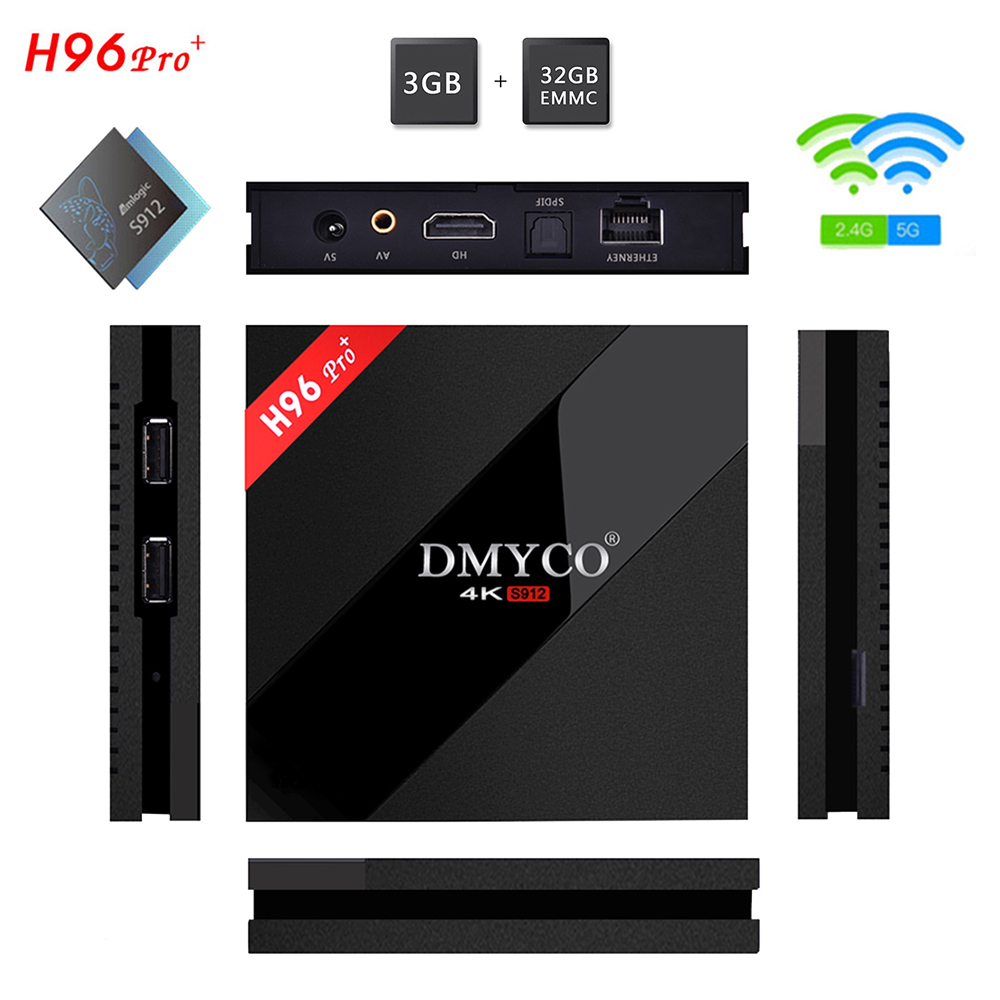 2018 Newest H96 Pro+ Amlogic S912 Android 7.1 OS Smart TV Box 3GB DDR3 32GB EMMC 5.0GHz WiFi H.265 4K H96 Pro PLUS Media player h96 pro tv box 3gb 32gb amlogic s912 octa core android h 265 4k wifi smart media player