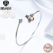 BISAER Real 925 Sterling Silver Crystal Bee Honeycomb Femme Bracelets & Bangles for Women Pulseira Silver 925 Jewelry ECB104(China)