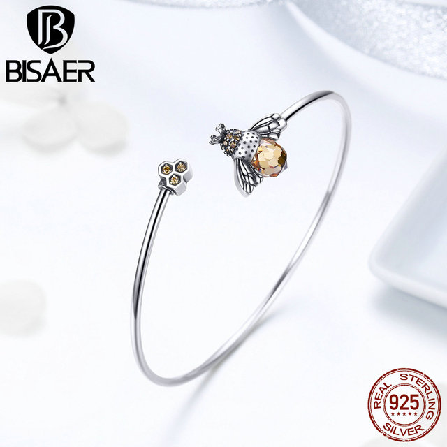 BISAER Real 925 Sterling Silver Crystal Bee Honeycomb Femme Bracelets & Bangles for Women Pulseira Silver 925 Jewelry ECB104