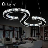 Elinkume Modern Chrome Chandelier Crystals Diamond Ring 24W LED Lamp Stainless Steel Hanging Light Fixtures Adjustable Cristal