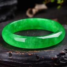 56,4 мм натуральный изумруд зеленый жадеит нефрит браслет ручной работы