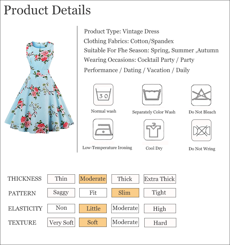 Kostlish 9 Style Print Summer Dress Women 2017 Sleeveless Swing 1950s Hepburn Vintage Tunic Dress Elegant Party Dresses Sundress (94)