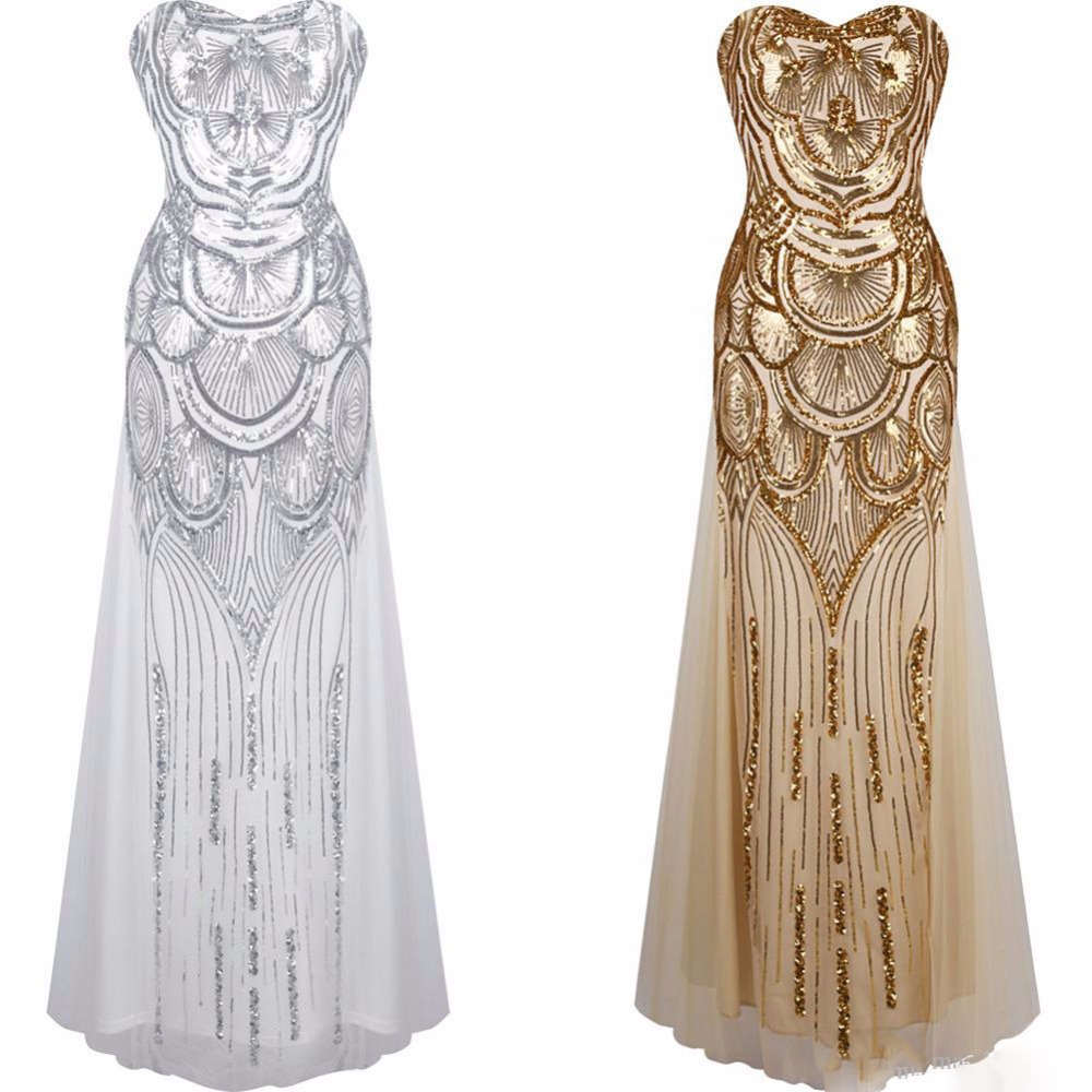 glitter woman 1950s great gatsby dress retro art deco sequin mermaid party long gold dress robe. Black Bedroom Furniture Sets. Home Design Ideas