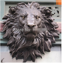 free shipping West Art pure bronze sculpture carvings fierce beast of prey lion head figurine