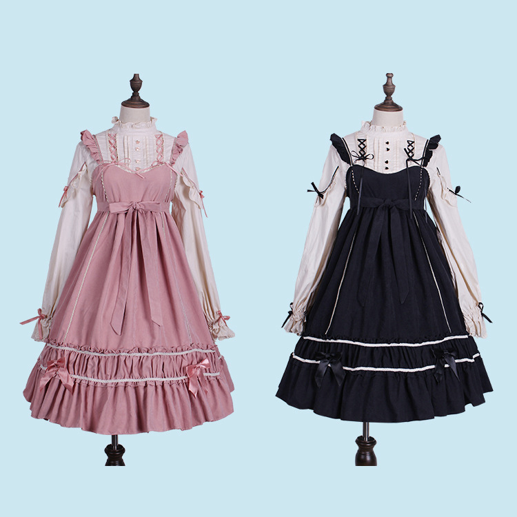 Lolita Dress Sweet Cute Kawaii Girls Shirt Princess Maid Vintage Gothic High Waist Skirt Red Black Pink Women Summer Skirt
