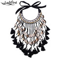 Ladyfirst 2016 Fashion Jewelry Shell Pendant Long Tassel Statement Necklace Women Ribbon Chain Wedding Boho Chunky Collier 3786