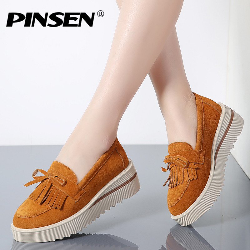 PINSEN 2018 Spring Women Flats Shoes Tassel Platform Shoes Leather Suede Casual Shoes Woman Slip On Flats Creepers Moccasins beffery 2018 spring patent leather shoes women flats round toe casual shoes vintage british style flats platform shoes for women