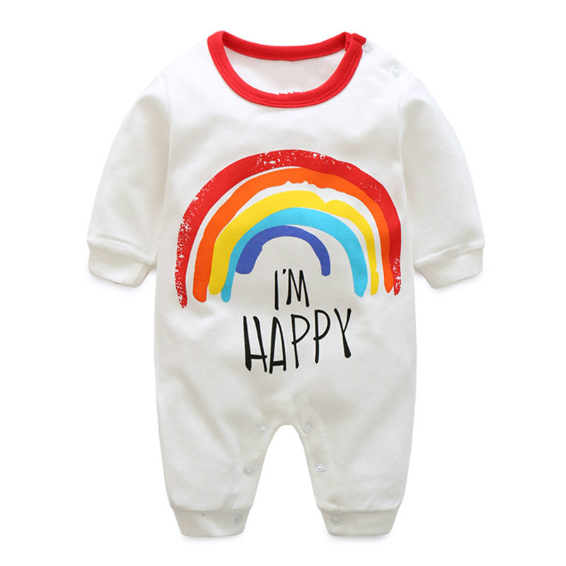 2018 fashion Rainbow Baby   Romper   Long Sleeve baby girls clothing 0-24M newborn baby clothes Pajamas for jumpsuit