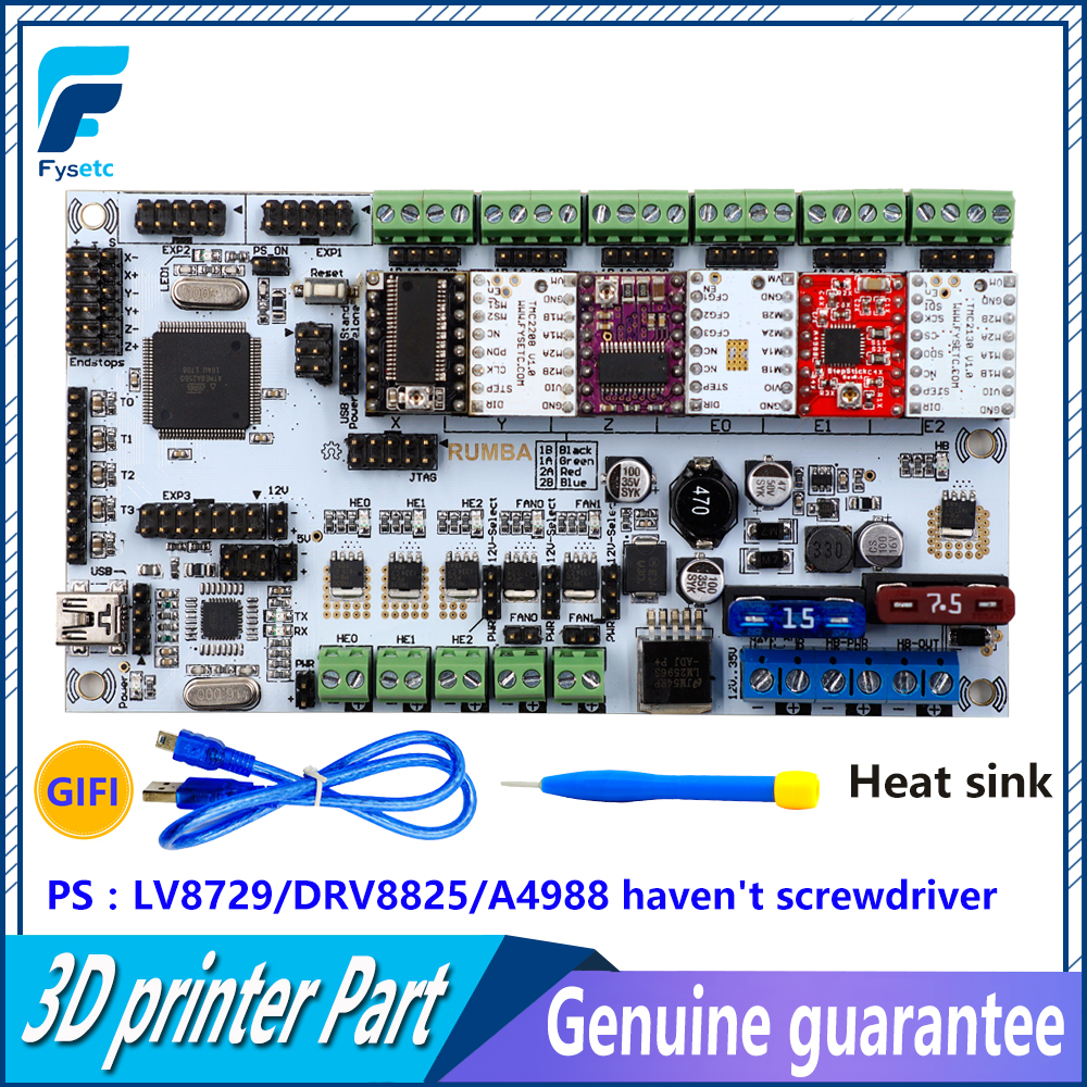 Rumba Plus 3D Printer Start Kits Mother Board Upgrade Rumba+ Control Board With 6pcs DRV8825 Stepper Driver Suitable MKS TFT 3d printer start mother board rumba control board stepper driver 6pcs heatsink for 3d printer accessories
