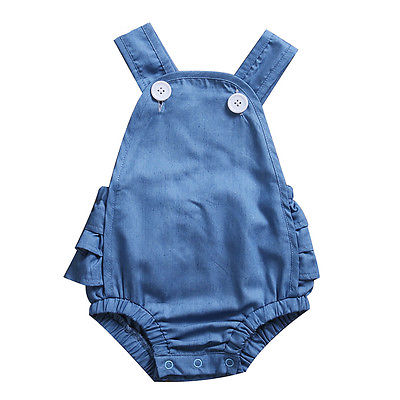 2017 Summer Newborn Infant Baby Girls Denim Ruffle Romper Backless Jumpsuit Onesie Clothes Sunsuit pudcoco newborn baby girl clothes 2017 summer sleeveless floral romper backless jumpsuit sunsuit children clothes