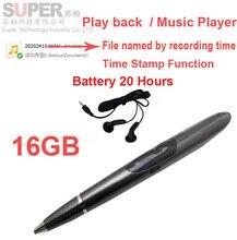 Supprt S1 16G reproductor de música reproductor de MP3 de la pluma grabadora de voz w/hora batería 20 H grabador de audio de audio de voz activado jugador