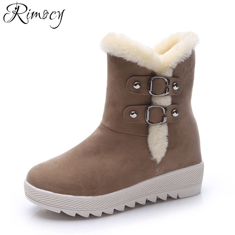 Rimocy thick winter snow boots woman comfortable platform warm cotton shoes women plush ankle boots casual ladies short booties veowalk winter warm fur women short ankle boots cotton embroidered ladies casual canvas 5cm heels wedge platform booties shoes