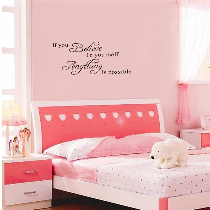 If You Believe in Yourself Anything Is Possible Removable Wall Decal Sticker DIY Art Decor Mural Vinyl Home Room Office Decals