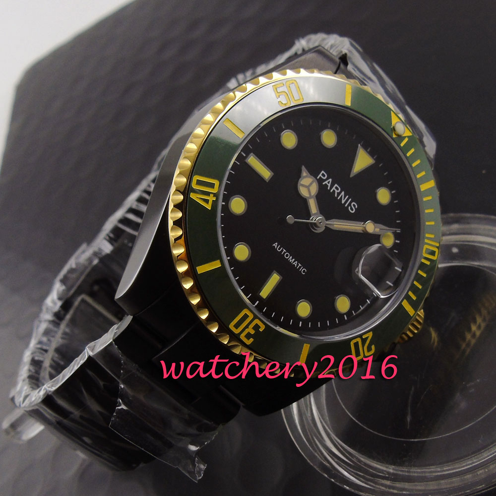 Parnis 40mm sapphire glass black dial luminous marks green ceramic bezel yellow numbers automatic self wind