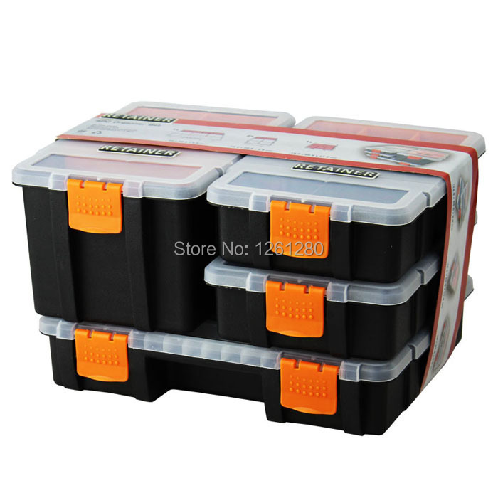 free shipping PP storage box grid Category Box Sealed bin Home Movable insert part box classify battery button jewelry tool box motorcycle bikes battery box black pp shell