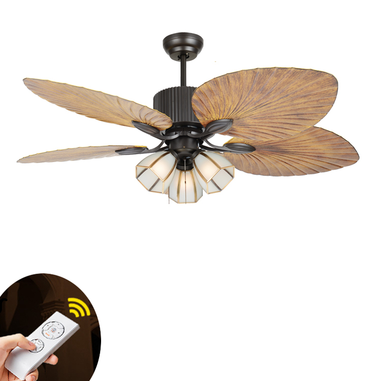 High Quality European-style Retro Living Room Remote Control Ceiling Fans Restaurant Living Room Fans Light Pure Copper Lampshad