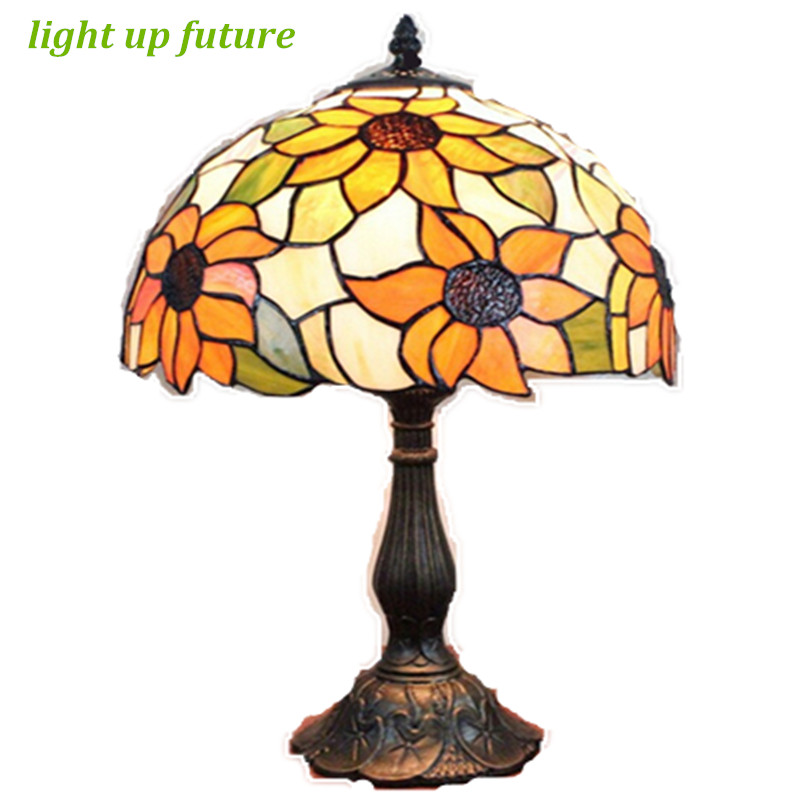 Handmade Sunflowers Glass Dia 30cm led E27 Tiffany Table Lamp for living Room Bar Restau ...