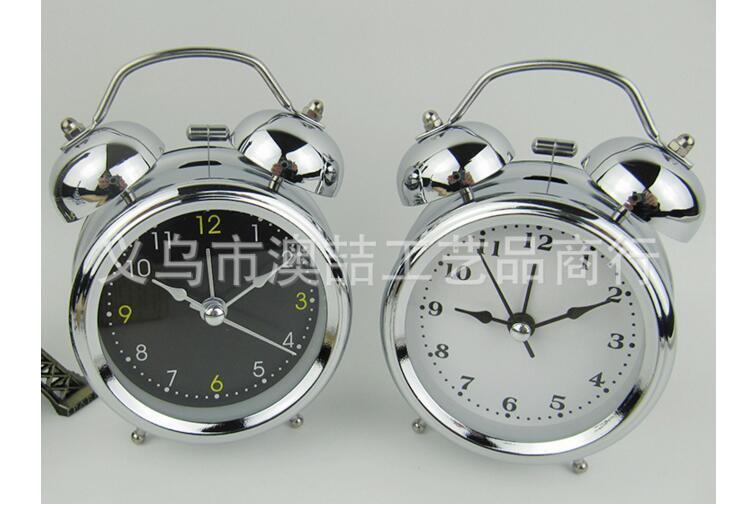 Vintage Silent Pointer Bell Clocks Dual Bell Loud Alarm Clock Bedside Home Decors