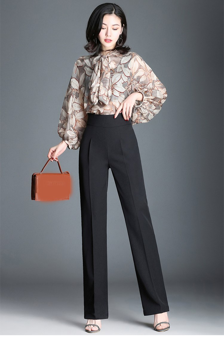 2019 Summer Plus Size Women High Waist Slim   Pants   Ol Solid Color Wide Leg   Pants   Office Lady Fashion Zippers Straight Trousers