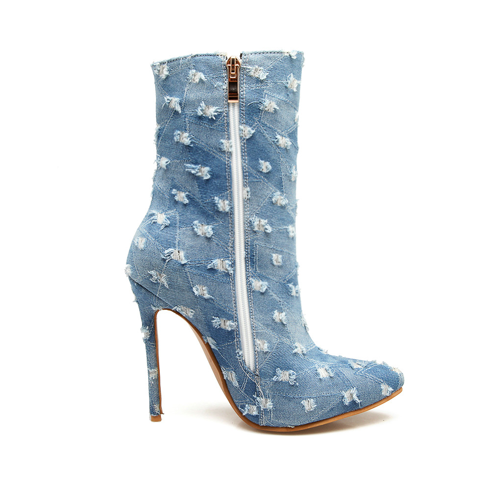 327adfb59122 AIWEIYi Sexy High Heels Ankle Boots Denim Platform Boots 2018 Winter New  Style Sexy Women s Fashion Ankle Boots Short Booties-in Ankle Boots from  Shoes on ...