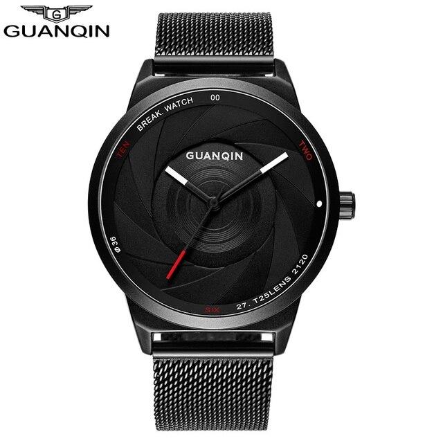 GUANQIN Watch Men Thin Quartz Watches Fashion Carbon Fiber Dial Black Genuine Watches Waterproof Male Clock Student Wristwatches