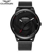 GUANQIN reloj hombres cuarzo relojes moda fibra de carbono Dial negro genuino relojes impermeable reloj masculino estudiante relojes de pulsera
